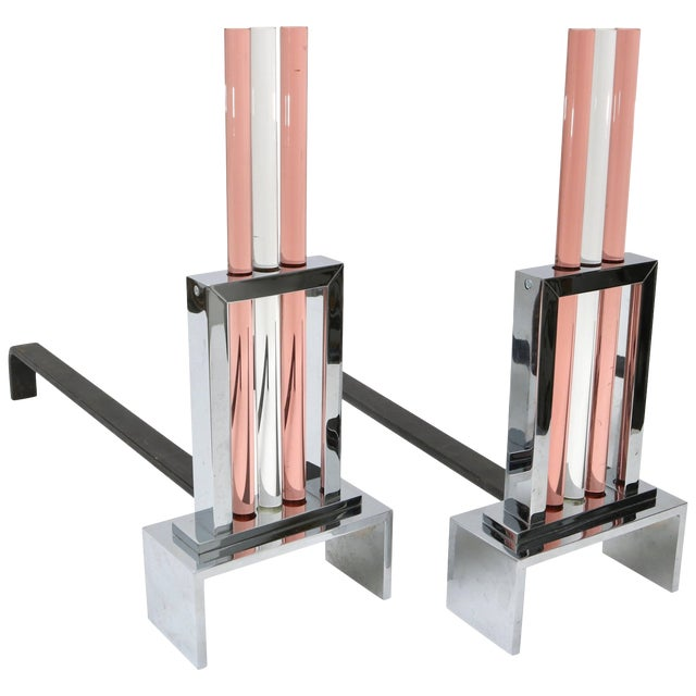 French Art Deco Fireplace Andirons in Polished Chrome and Glass For Sale