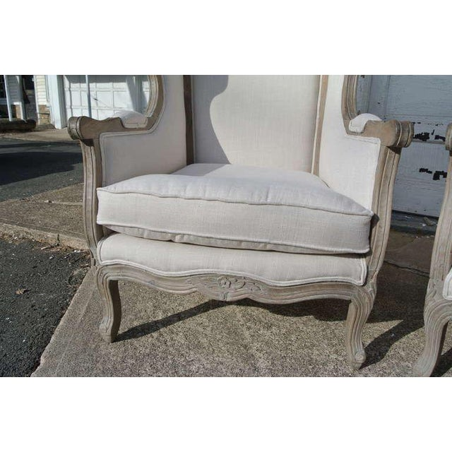 Pair of French White Linen Canopy Hood Bishops Chairs For Sale - Image 9 of 10