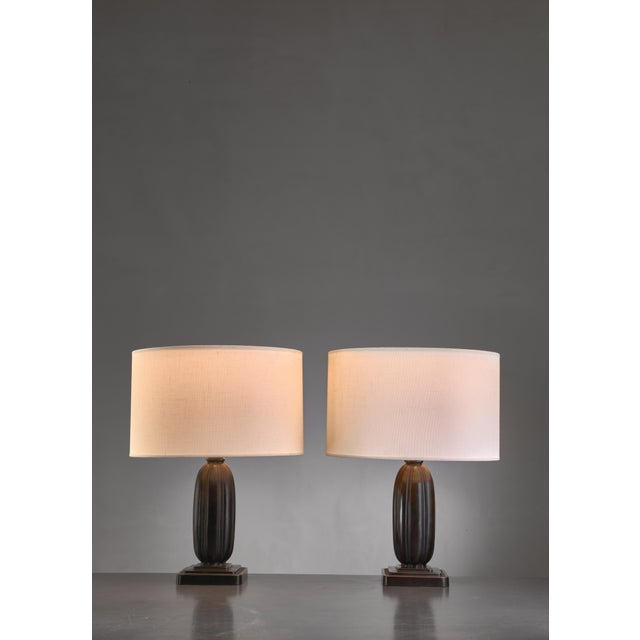 Just Andersen Pair Just Andersen metal table lamps, Denmark, 1930s For Sale - Image 4 of 4