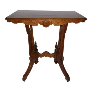 19th Century Antique Eastlake Burled Walnut Parlor Table For Sale