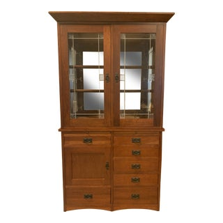 Fenton MacLaren Brentwood Cherry Two Piece Hutch For Sale