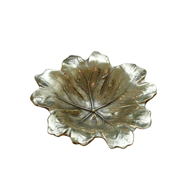 Metal 1948 Virginia Metalcrafters Mayapple Leaf Brass Dish For Sale - Image 7 of 7