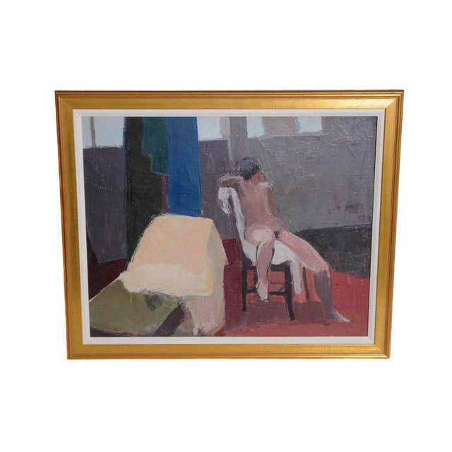 Contemporary A Contemporary Oil on Canvas of a Nude in an Interior Seated on a Chair For Sale - Image 3 of 13