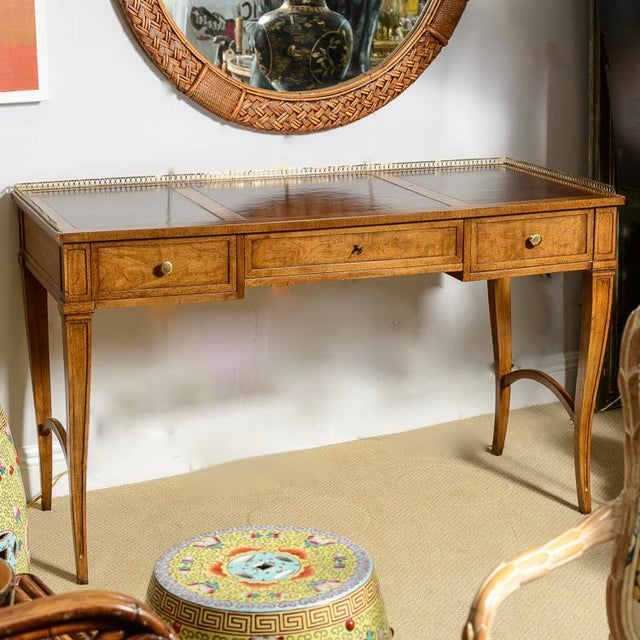 French style 3 drawer walnut writing desk on cabriole tapered legs. Beautiful original and in perfect condition, 3 part...