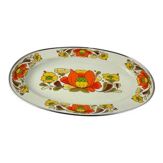 1970s Japanese Floral Porcelain Enameled Steel Service Platter For Sale