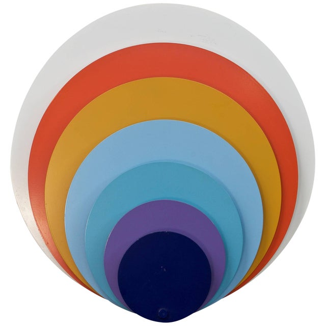1960s Lyfa Psychedelic Pop Art Offset Concentric Circles Peacock Wall Sconce For Sale