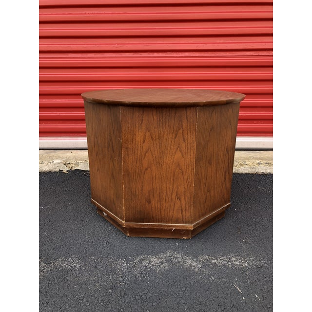 Plastic 1960s Mid Century Modern Round End Table With Storage Cabinet For Sale - Image 7 of 10