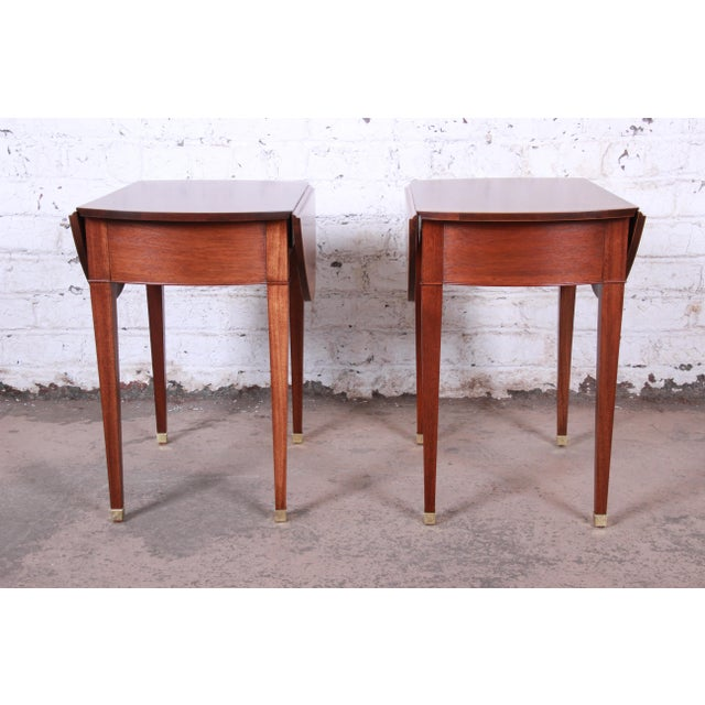 Baker Furniture Georgian Style Banded Mahogany Pembroke Side Tables - a Pair For Sale - Image 11 of 13