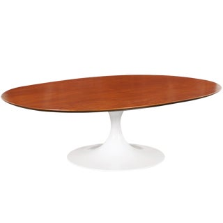 Vintage Walnut Tulip Coffee Table by Maurice Burke For Sale
