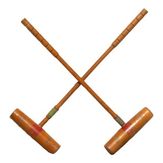 Old School English Croquet Mallets - a Pair For Sale