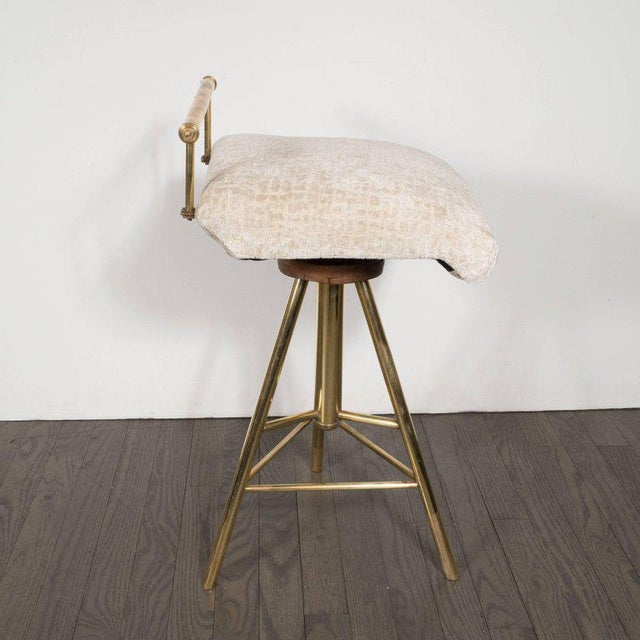 Mid-Century Modern Swivelling Brass Stool with Gauffraged Crocodile Velvet For Sale - Image 4 of 10