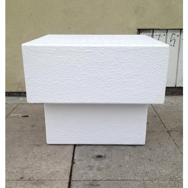 Architectonic Textured Plaster Side Tables, Pair - Image 4 of 7