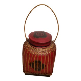 1960s Large Thai Hand Painted Rice Basket For Sale