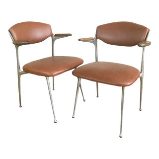 """Gazelle"" Arm Chairs From Shelby Williams in Leather - A Pair For Sale"