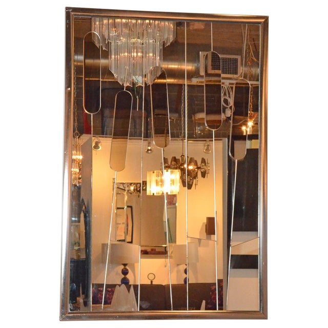 """Mid Century Modern Chrome and Cut-Glass """"Cat Tails"""" Mirror - Image 4 of 6"""