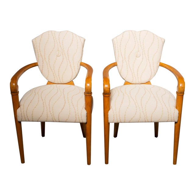 Pair French Bridge Chairs With Beech Frames and New Upholstery For Sale