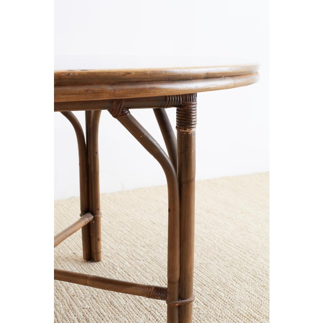 Ficks Reed Ficks Reed Midcentury Rattan Dining Table For Sale - Image 4 of 13