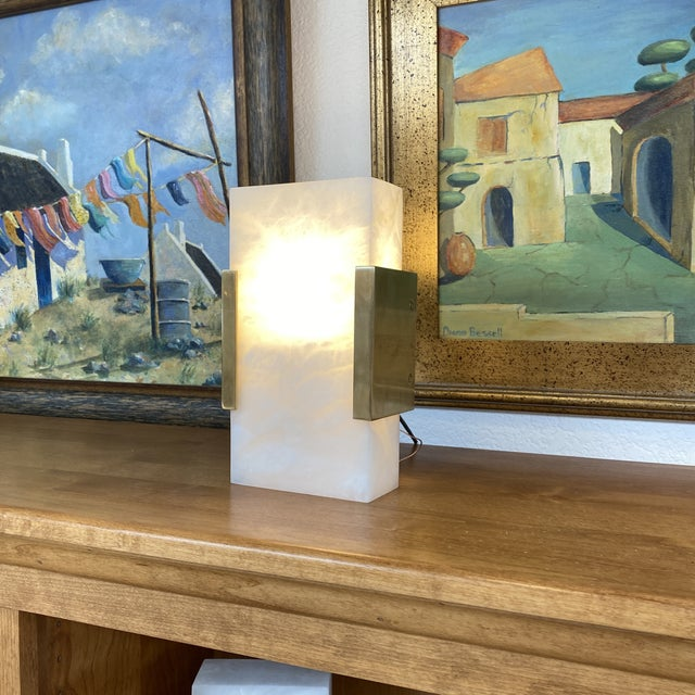 Visual Comfort Covet Wide Clip Bath Alabaster Wall Sconces - a Pair For Sale - Image 12 of 13