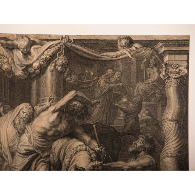 """Gold """"The Triumph of Eucharistic Truth over Heresy"""", an engraving of the painting by Peter Paul Rubens c.1800. For Sale - Image 8 of 11"""