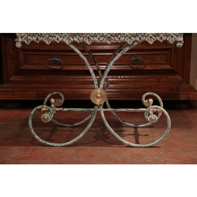 Painted French Iron Butcher or Pastry Table With Marble Top and Brass Finials For Sale - Image 10 of 12