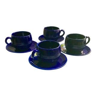 Mid-Century Scandinavian Old Hoganas Keramik Tea Cup and Saucer Set of 4 - 8 Pieces For Sale