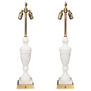 Pair of White Marble Lamps For Sale