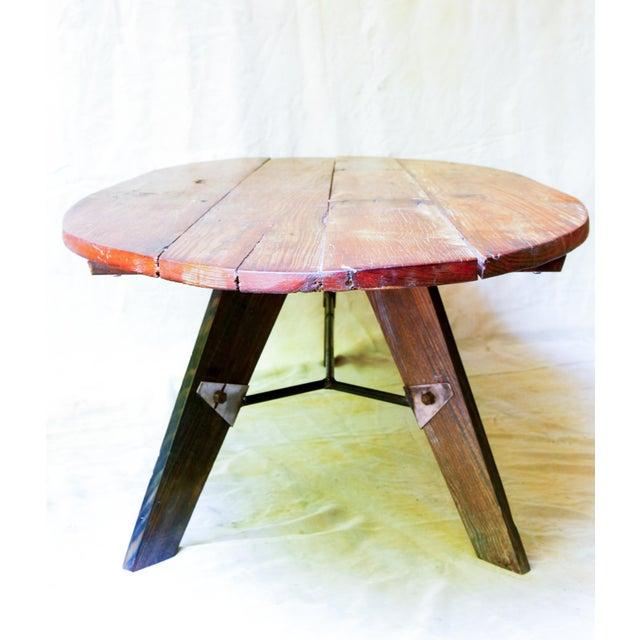 Mid-Century Reclaimed Wood Surfboard Coffee Table - Image 3 of 11