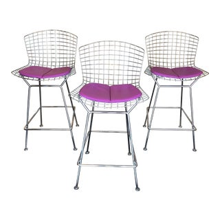 Bertoia for Knoll Counter Height Bar Stools - Set of 3 For Sale
