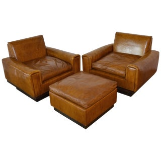 Mid-Century French Cognac Leather Club Chairs and Ottoman For Sale