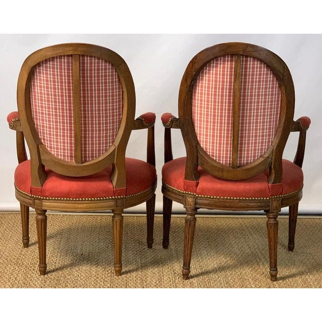 Pair of French Louis XVI Beechwood Fauteuils For Sale - Image 4 of 12