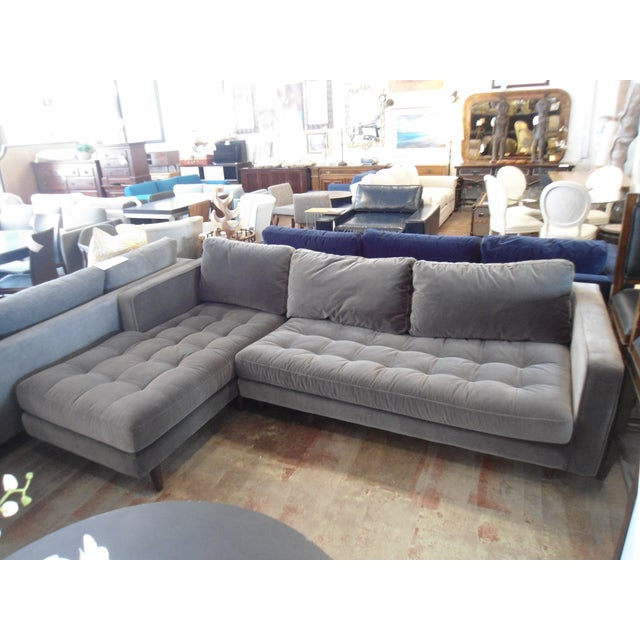 Shadow Gray Velvet Sectional, Left Chaise, Tufted Seating For Sale In Los Angeles - Image 6 of 6