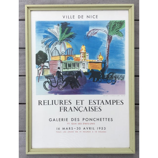 """This charming poster, """"Reliures et Estampes Francaises"""" for an exhibition held at the Galerie des Ponchettes in Nice,..."""