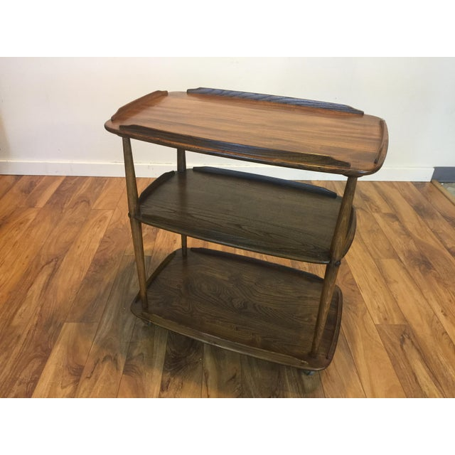 Wood Mid-Century Solid Wood Bar Cart For Sale - Image 7 of 11