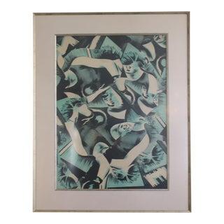 Bruce Helander Lithograph of Jumbled Figures Signed Oct 20, 1995 For Sale