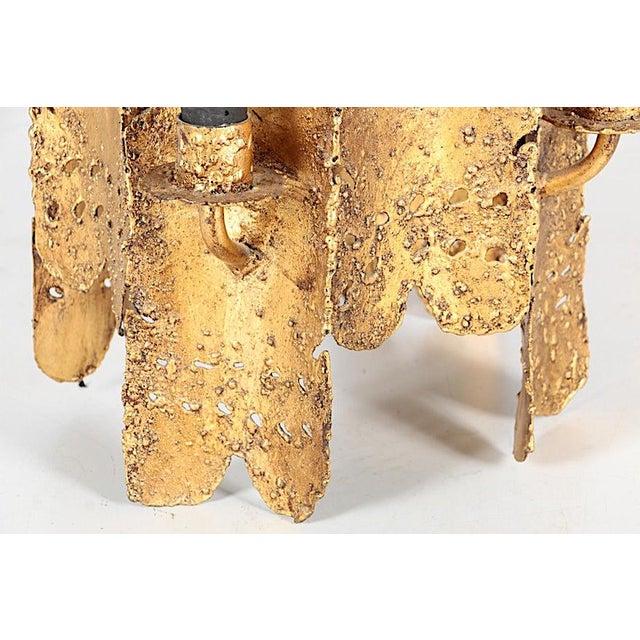 Tom Greene Vintage Tom Greene Torch Cut Brutalist Chandelier & Chain For Sale - Image 4 of 13
