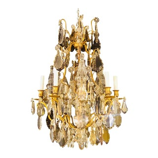 French 1920s Bronze and Crystal Chandelier With Spear Points For Sale