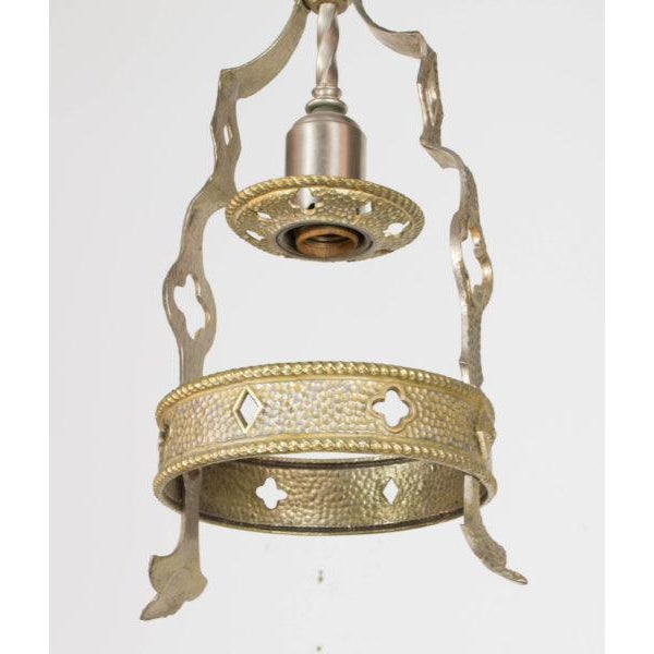 Small Brass and Nickel Hall Fixture For Sale - Image 9 of 9