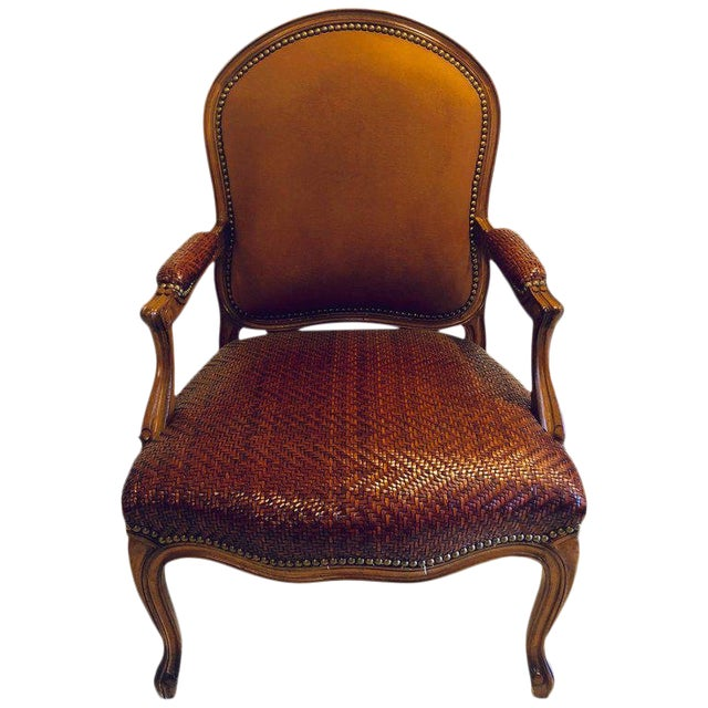 Brown Suede and Tweed Leather Bergère Arm or Office Desk Chair Brunschwig & Fils For Sale