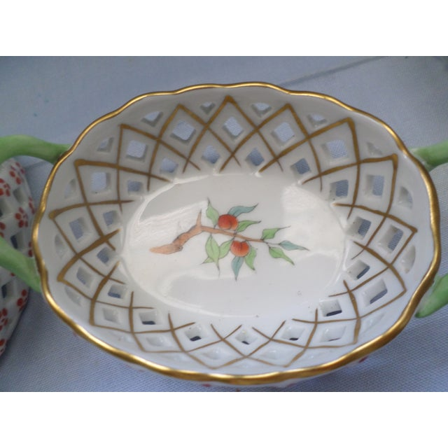 Mid 20th Century Vintage Herend Hungary Porcelain Lattice & Cherry Design Individual Nut or Sweetmeat Baskets - Set of 8 For Sale - Image 5 of 12
