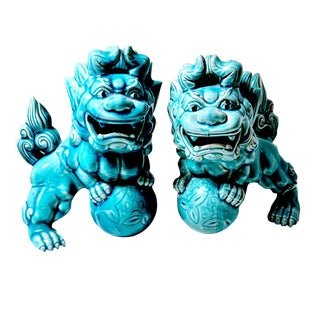 1990s Glossy Glazed Turquoise Ceramic Foo Dog Figurines - a Pair For Sale