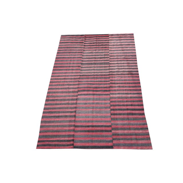 Late 20th Century Turkish Modern Handmade Striped Flatweave Textile Rug - 5′11″ × 9′10″ For Sale - Image 4 of 4