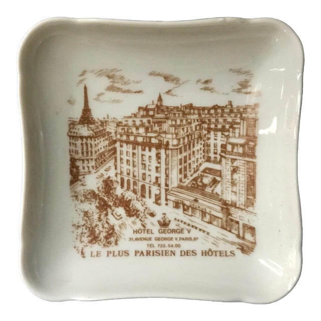 Vintage Hotel George V Bonbon Pillivuyt Ceramic Trinket Soap Dish For Sale