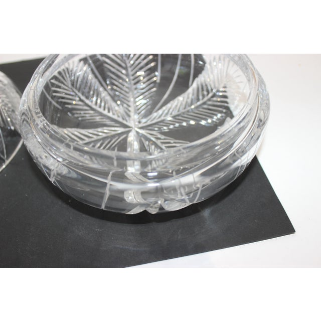 Palm Tree Lidded Box Bonbonnier in Cut Crystal For Sale - Image 4 of 11