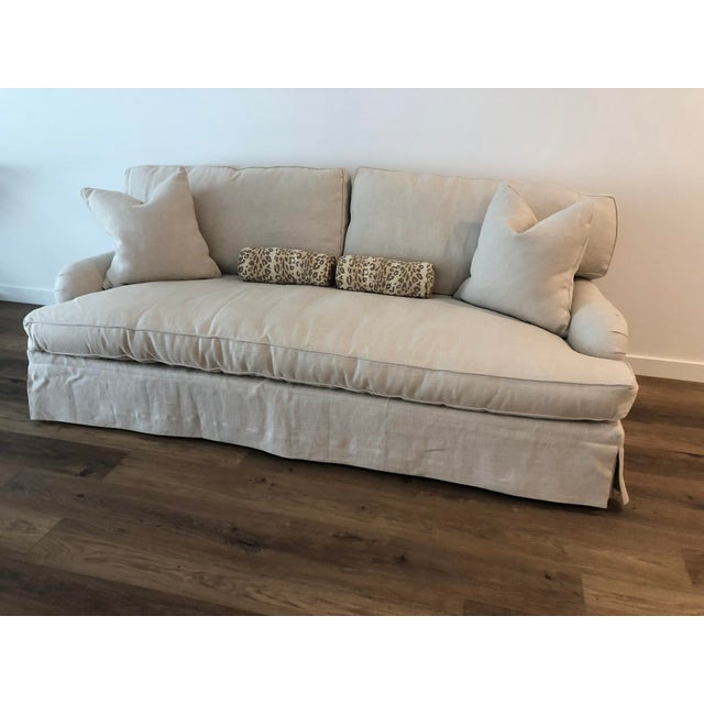 Linen Lee Industries Down FIlled Belgain Linen Sofa For Sale - Image 8 of 13