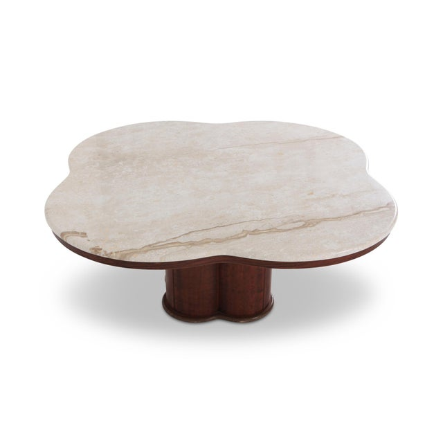 Art Deco Jean Royere Style Travertine Coffee Table For Sale - Image 3 of 8