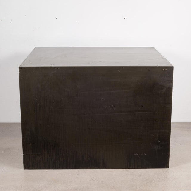 Mid 20th Century Industrial Factory Two Drawer Cabinet With Brass Pulls C.1940 For Sale - Image 5 of 10