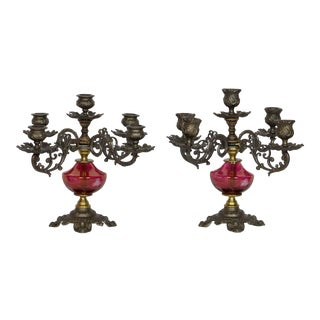 Cranberry Glass Candelabra - A Pair For Sale