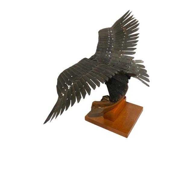Vintage Artisan Mid-Century Welded Metal Sculpture Flying Eagle For Sale