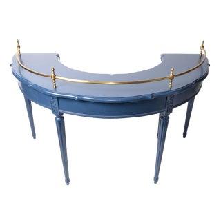 Vintage Semi Circle Brass Galleried Drop Leaf Desk