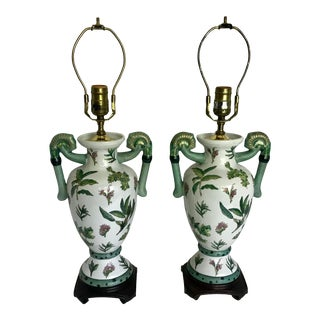 Green Floral Asian Porcelain Lamps With Handled Urn Shaped - a Pair For Sale
